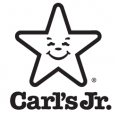 Black and white image of fastf ood Carl's Jr. logo